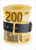 200 euro notes squeezed by leather belt on a white background — Stock Vector