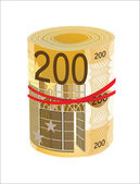 200 Euro rolled up on white background — Stock Vector