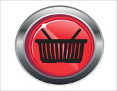 Shopping basket red circle web glossy icon — Stock Vector