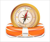 Red Lifebelt with compass isolated on white background — Stock Vector