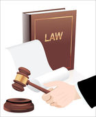 Gavel in hand and law book. Photo-realistic vector — Stock Vector