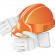 Orange hard hat on the gloves — Stock Vector