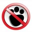 Paw print with not allowed symbol - no pets allowed — Stock Vector