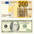 Stock Vector: Euro and dollars