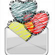 Heart into envelope  — Stock Vector