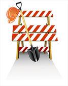 Objetos de trabajo para la construcción o reparación de carretera — Vector de stock