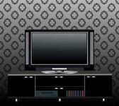 Schwarz tv steht auf einem regal — Stock vektor