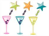 Vector summer cocktails — Stock Vector