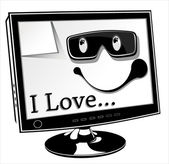 Vector illustration computer Monitor of title I love — Stock Vector