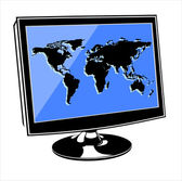 Computer monitor with World map and flying digits on screen — Stock Vector
