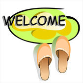 Welcome mat and slippers — Stock Vector