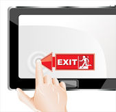Man hand touching screen exit on modern digital tablet pc. — Stok Vektör