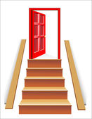Stairs in up to an open door the leader to success — Stock Vector
