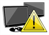 Attentions sign on LCD screen — Vector de stock