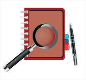 Notebook and pen loop — Stock Vector