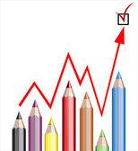 бизнес график, иллюстрирующий рост составил цветные карандаши и красная линия — Cтоковый вектор