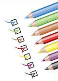 Assortment of coloured pencils — Stock Vector
