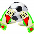 Soccer goalkeeper gloves and a ball — Stock Vector
