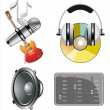 Set of music instruments icons — Stock Vector