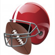 Football ball and helmet — Stock Vector