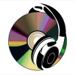 Music concept with Hi-Fi headphones and CD disc — Imagen vectorial