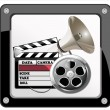 Film and Clapper board - video icon — Stock Vector