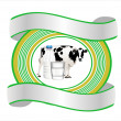 Cow and milk banner — Stock Vector
