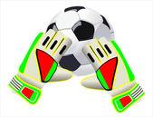 Futbol kaleci eldiven ve bir top — Stok Vektör