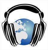 глобус земли с наушниками, концепции мира музыки. — Cтоковый вектор