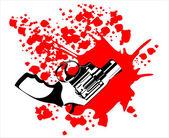 Gun and blood — Stock Vector