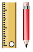 Red pencil with ruler, education concept — Stock Vector