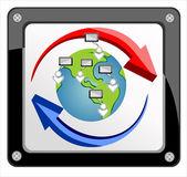 Modern dünya bağlantıları ağ tasarımı — Stok Vektör