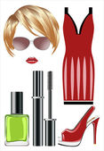 Fashion set from a female, accessories and cosmetics. — ストックベクタ
