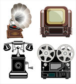 Vintage technologies icon set — Stock Vector