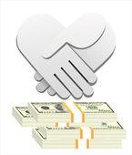 Handshake and money — Stock Vector