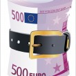 500 euro notes squeezed by leather belt on a white background — Stock Vector #25871405
