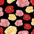 Seamless pattern with pink, red and yellow roses. Vector illustration. — Stock Vector