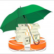 A life preserver filled with money and an umbrella, symbolizing financial aid — Stock Vector