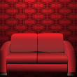 Red sofa in old Styled Interior — Stock Vector