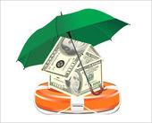 Obrońcy życia wypełnione pieniądze i parasol, symbolizujące pomocy finansowej — Wektor stockowy