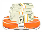 A life preserver filled with money, symbolizing financial aid — Stock Vector