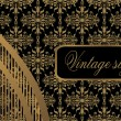 Vintage seamless wallpaper with a ribbon and frame — Stockvektor