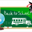 Blackboard. Back to school .written on blackboard school bus Vector. — Vecteur