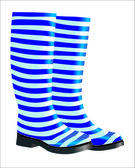 High blue rubber boots isolated on white background — Stock Vector