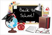 Back to school. Desk with school supplies. — Stock Vector