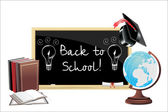 Back to school. Pulb electric over chalkboard, idea. — Stock Vector