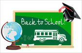 Blackboard. Back to school .written on blackboard school bus Vector. — Stock vektor