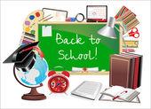 回学校。带学校用品的办公桌. — 图库矢量图片
