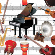 Different music instruments background — Stock Vector #31893427