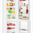 Refrigerator full with some kinds of food - vegetables, meat, fish — Stock Vector